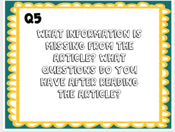 Nonfiction Article Conver-Station Starters