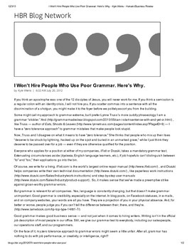 Keystone Test Prep--Nonfiction Article: I Won't Hire People Who Use Poor Grammar
