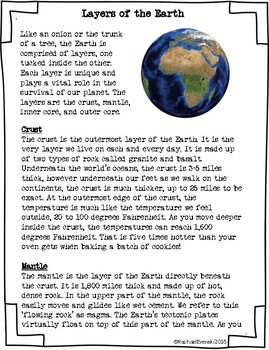 Nonfiction Article: Layers of the Earth PERSONAL USE