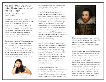 Nonfiction Article: Perfect for Any Shakespeare Play