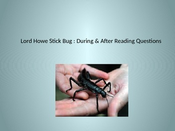 Keystone Test Prep-Nonfiction Article: Six-Legged Giant...
