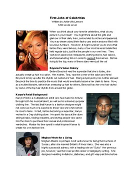Nonfiction Article with Text Dependent Questions: First Jobs of Celebrities