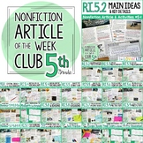 Article of the Week Club, 5th Grade | Nonfiction Reading Passages Common Core