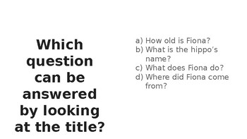 Nonfiction Ask and Answer Questions Fiona Hippo