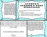 Nonfiction Author's Purpose, Text Structure, and Main Idea