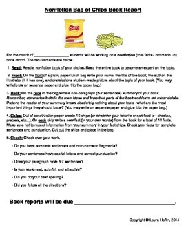 Nonfiction Bag of Chips Book Report- Common Core ELA RI.2