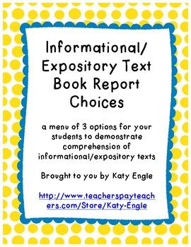 Nonfiction Book Report Choices