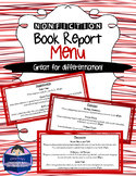 Nonfiction Book Report Menu