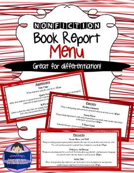 Nonfiction Book Report Menu