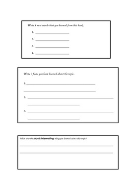 Nonfiction Book Response Activity