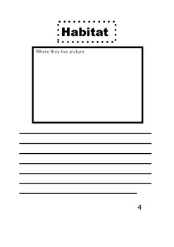 Nonfiction Book Template For Animals