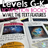 Printable Leveled Reading Books Nonfiction Levels G-K ALL WITH TEXT FEATURES