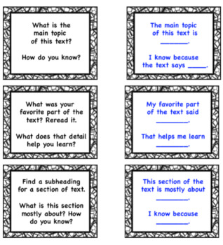 Nonfiction Buddy Reading Talk Cards