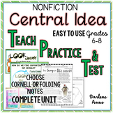 Nonfiction Central Idea PowerPoint, Notes, Worksheets, and Test