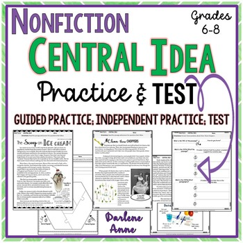 NONFICTION: CENTRAL IDEA PRACTICE WORKSHEETS & ASSESSMENT- MIDDLE SCHOOL ENGLISH
