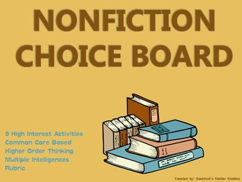 Nonfiction Choice Board Student Reading Response Menu Activities Book Project
