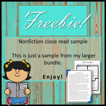 Nonfiction Close Read Freebie