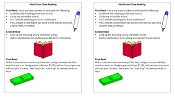 Nonfiction Close Reading Bookmarks