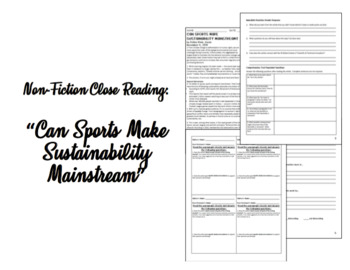 """Nonfiction Close Reading: """"Can Sports Make Sustainability Mainstream?"""""""