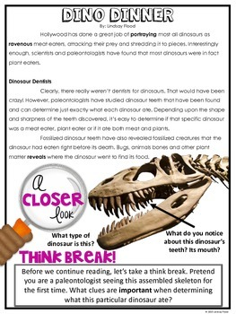 Nonfiction Close Reading - Dinosaurs
