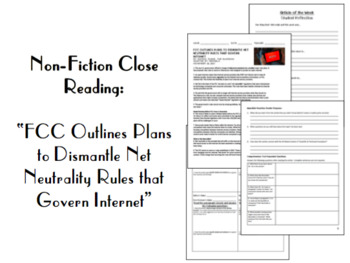 """Nonfiction Close Reading: """"FCC Outlines Plan to Dismantle Net Neutrality"""""""