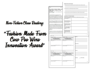 """Nonfiction Close Reading: """"Fashion Made From Cow Poo Wins Innovation Award"""""""