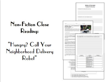 """Nonfiction Close Reading: """"Hungry? Call Your Neighborhood Delivery Robot."""""""