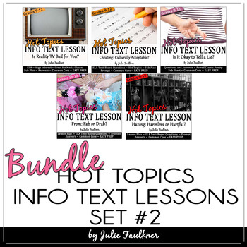 Hot Topics Informational Text Lessons: BUNDLE, Set 2, 5 Ways to Keep Students Tuned-In at the End-of-the-Year