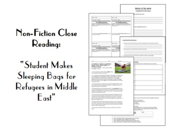 """Nonfiction Close Reading:""""Student Makes Sleeping Bags For Refugees in Mid. East"""""""