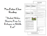 "Nonfiction Close Reading:""Student Makes Sleeping Bags For"