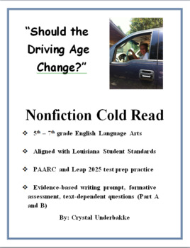 Should the Driving Age Change? Nonfiction Cold Read and Test Prep