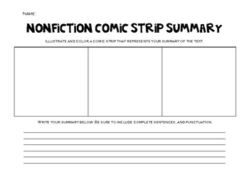 Nonfiction Comic Strip Summary