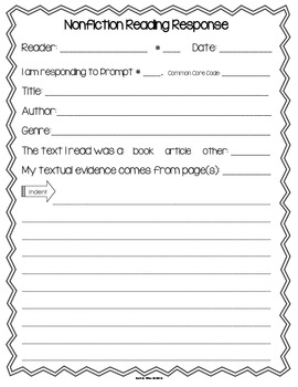 Nonfiction Common Core Text Dependent Reading Response Prompts