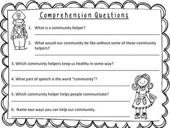 Nonfiction Community Helper Comprehension Sheet