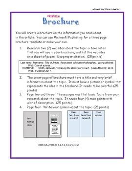 Nonfiction Comprehension Brochure