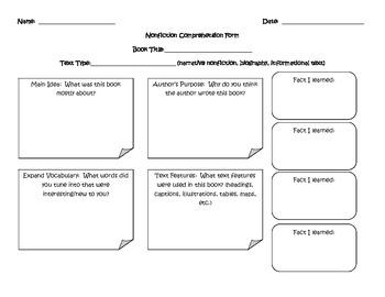 Nonfiction Comprehension Form