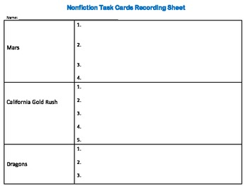 Nonfiction Critical Thinking Task Cards