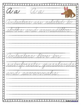 Nonfiction Cursive Animal Handwriting Practice Book