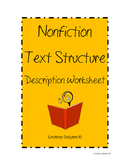 Nonfiction Description Text Structure Worksheet