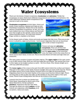 Nonfiction Ecosystems Reading Comprehension Pack