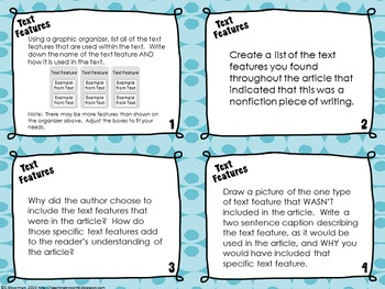 Nonfiction Elements Response Task Cards
