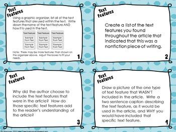 Nonfiction Elements Response Task Cards
