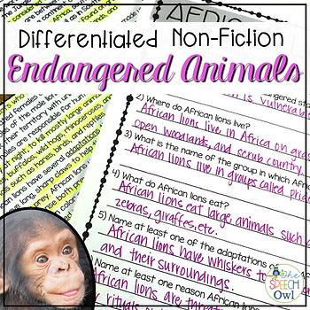 Nonfiction Endangered Animal Passages for Language, Comprehension, & More