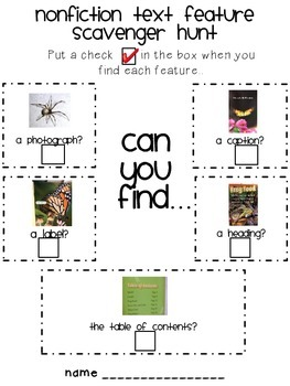 Nonfiction Feature Scavenger Hunt