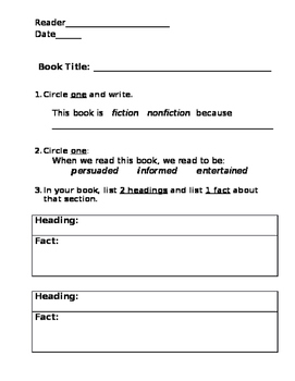 Nonfiction Features Guided Reading Quiz