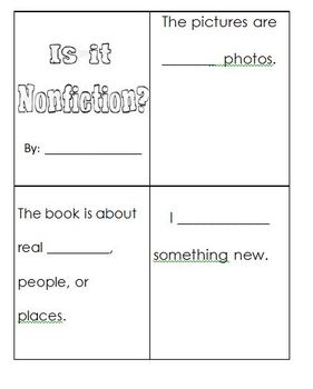 Nonfiction Fill in the Blank Booklet