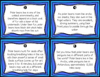 Nonfiction Fluency Practice: Arctic Animals Fact Cards