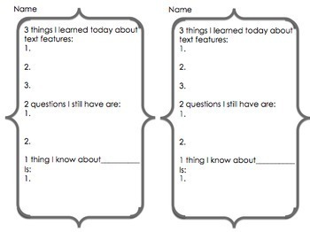 Nonfiction Formative Assessments for Text Features