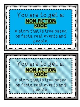 Nonfiction Genre Library Cards for students Resource