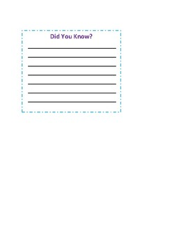Nonfiction Graphic Organizer - Did You Know?